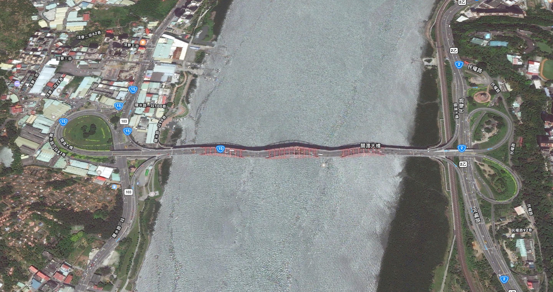淡水交通 關渡大橋(臺15線)夜間施工封閉資訊 關渡大橋 淡水 地圖 衛星照片 Apple 1