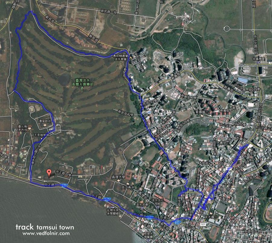 淡水健行、快走、慢跑、腳踏車運動路線指南(一) Tamsui Walking Track 淡水運動路線軌跡 1